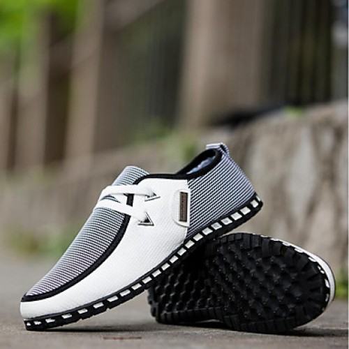 Men's Comfort Shoes PU(Polyurethane) Spring / Fall British Sneakers Walking Shoes Black / Green / Blue / Split Joint / Outdoor / Light Soles