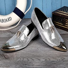 Men's Leather Shoes Leather Spring / Fall British Oxfords Silver