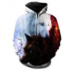 Men's Long Sleeve Hoodie - 3D / Animal Print Hooded White