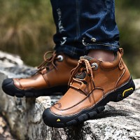 Men's Combat Boots Leather Fall / Winter Boots Black / Brown