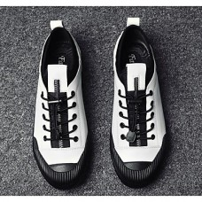 Men's Cowhide Spring Comfort Sneakers White / Black / Silver