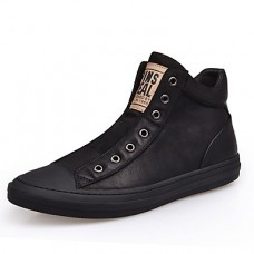 Men's Bootie Nappa Leather Winter Sneakers Booties / Ankle Boots Black