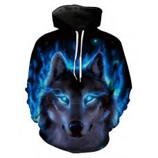 Men's Plus Size Long Sleeve Hoodie - 3D / Animal Wolf