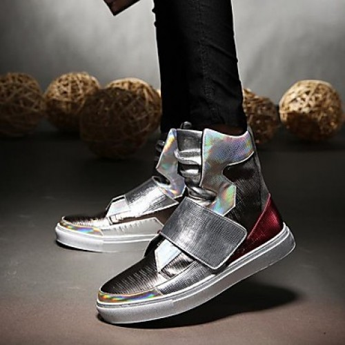 Men's Comfort Shoes PU(Polyurethane) Fall / Winter Sneakers Black / Silver