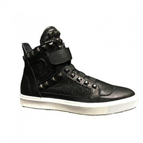 Men's Leather Shoes Pigskin Spring Sneakers Black
