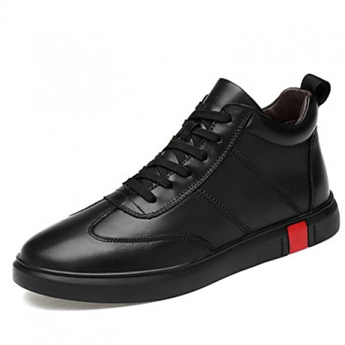 Men's Leather Shoes Nappa Leather Fall Sporty / Casual Sneakers Keep Warm Black