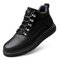 Men's Leather Shoes Nappa Leather Fall Casual / Preppy Sneakers Massage Mid-Calf Boots Black