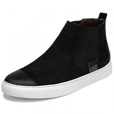 Men's Comfort Shoes Cowhide Fall Sporty / Casual Sneakers Keep Warm Black / Black and White