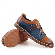 Men's Leather Shoes Leather / Cowhide Spring / Fall Comfort / British Oxfords Slip Resistant Gray / Brown
