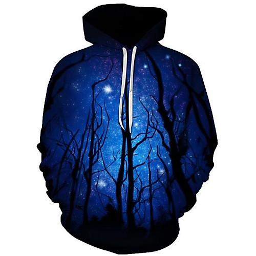 Men's Plus Size Active / Exaggerated Long Sleeve Loose Hoodie - 3D / Cartoon Print Hooded Black