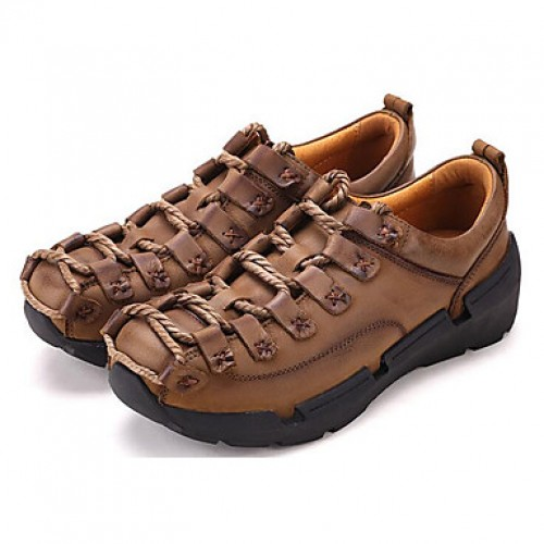 Men's Nappa Leather Spring / Summer / Fall Comfort Sneakers Hiking Shoes Light Brown