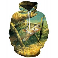 Men's Plus Size Active / Exaggerated Long Sleeve Loose Hoodie - 3D / Cartoon Print Hooded Green