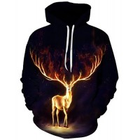 Men's Plus Size Christmas Active / Exaggerated Long Sleeve Loose Hoodie - 3D / Cartoon Print Hooded Black