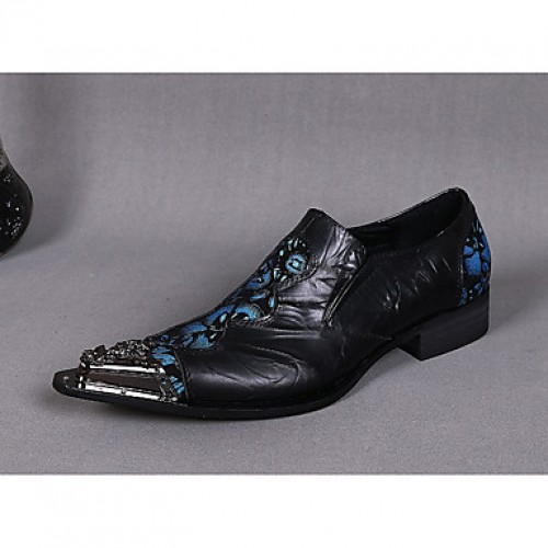 Men's Novelty Shoes Cowhide Spring / Summer Vintage / Comfort / Chinoiserie Oxfords Black / Wedding / Party & Evening