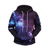 Men's Long Sleeve Hoodie - 3D Print Hooded Lavender
