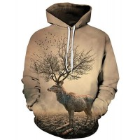 Men's Plus Size Active / Exaggerated Long Sleeve Loose Hoodie - 3D / Cartoon Print Hooded Yellow