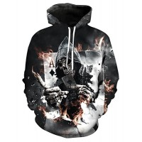 Men's Plus Size Long Sleeve Loose Hoodie - 3D / Skull Print Hooded Black