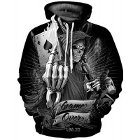 Men's Plus Size Punk & Gothic / Exaggerated Long Sleeve Hoodie - Geometric Print Round Neck Black
