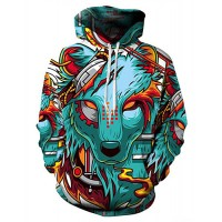 Men's Plus Size Basic / Exaggerated Long Sleeve Loose Hoodie - 3D / Cartoon Wolf, Print Hooded Green