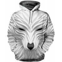 Men's Plus Size Punk & Gothic / Exaggerated Long Sleeve Hoodie - 3D Print Round Neck White