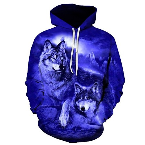 Men's Plus Size Sports Long Sleeve Loose Hoodie - 3D Wolf, Print Hooded Blue