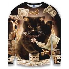 Men's Long Sleeve Sweatshirt - 3D Print Black