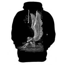 Men's Plus Size Sports Exaggerated Long Sleeve Loose Hoodie - 3D / Skull Print Hooded Black