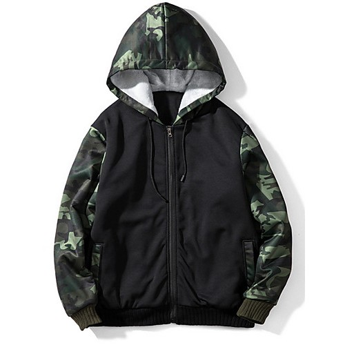 Men's Casual Hoodie - Color Block / Camo / Camouflage Army Green