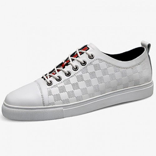 Men's Leather Shoes Nappa Leather Spring & Fall Classic / Casual Sneakers Non-slipping White
