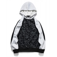 Men's Casual Hoodie - Color Block / Letter Black