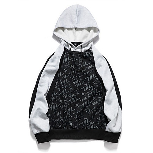 Men's Casual Hoodie - Color Block / Letter Black