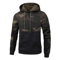 Men's Casual Hoodie - Color Block / Camo / Camouflage Black