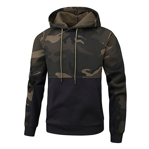 Men's Casual Hoodie - Color Block / Camo / Camouflage Black