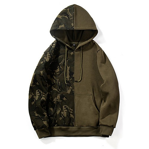 Men's Casual Hoodie - Print / Color Block Army Green