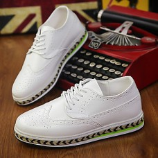 Men's Leather Shoes Leather / Faux Leather Fall Comfort Oxfords Walking Shoes White / Black / Brown / Party & Evening