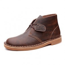 Men's Leather Shoes Leather Spring / Summer / Fall Comfort Boots Walking Shoes Black / Brown